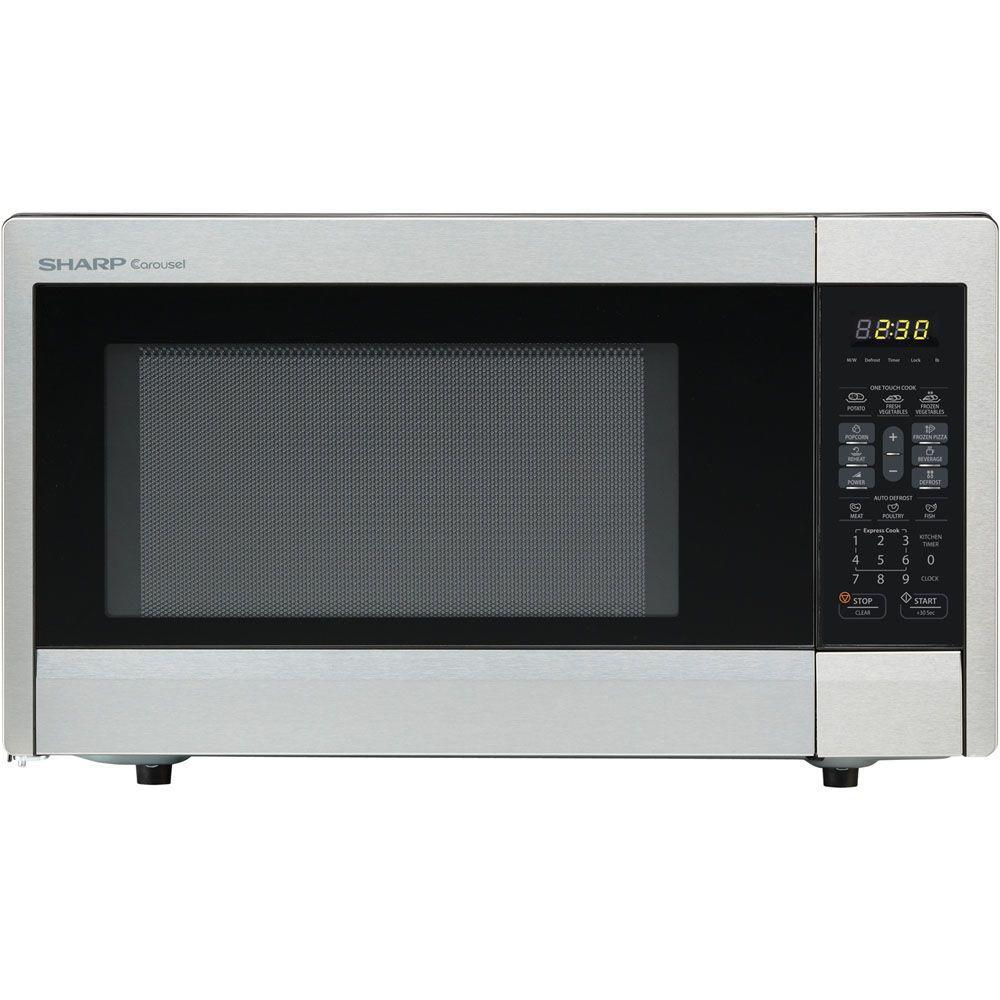 Sharp Carousel 1.1 cu. ft. 1000-Watt Countertop Microwave Oven in Stainless Steel
