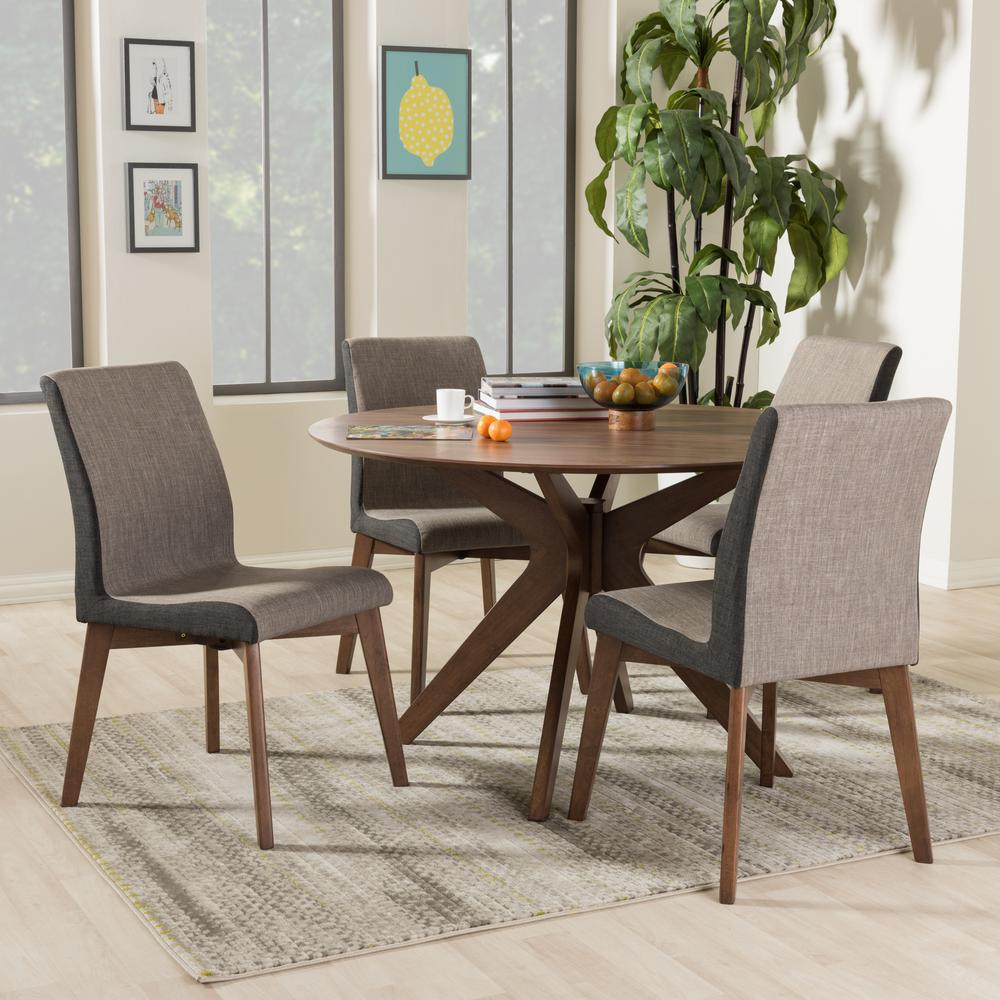 Kimberly 5 Piece Gray Fabric Upholstered Dining Set