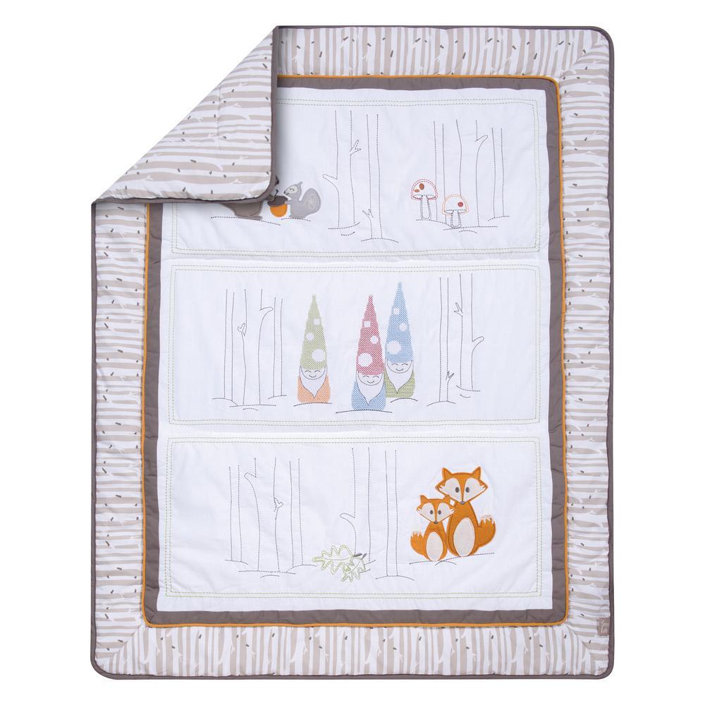 Gnome Boy 4-Piece Multicolored Geometric Polyester Crib Bedding Set