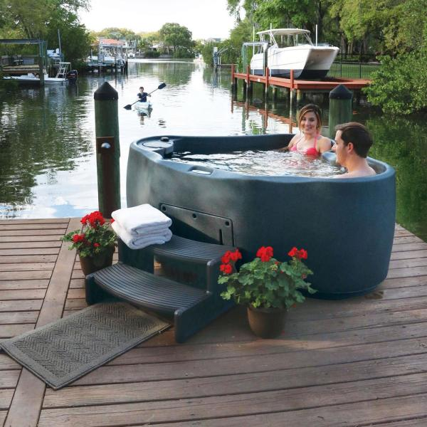 AquaRest Spas Select 300 2-Person Plug and Play Hot Tub with 20 Stainless Jets and LED Waterfall in Graystone