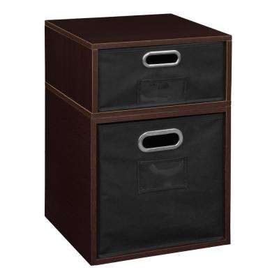 Cubo 13 in. x 19.5 in. Truffle 1 Half Cube and 1 Full Cube Organizer with Black Foldable Storage Bins