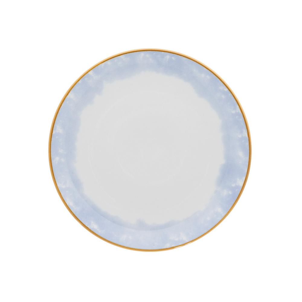 8.46 in. Coup  Blue and Yellow Salad Plates (Set of 12)