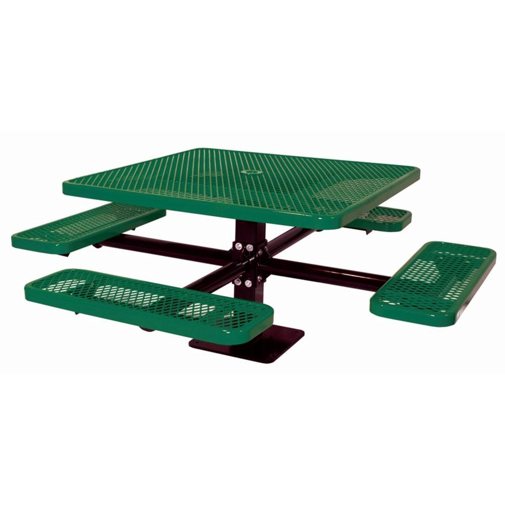 Ultra Play 46 in. Surface Mount Diamond Green Commercial Park Square Table