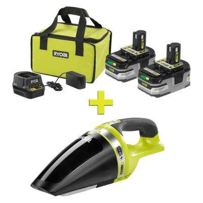 18-Volt ONE+ LITHIUM+ HP 3.0 Ah Battery (2-Pack) Starter Kit with Charger and Bag with Bonus ONE+ Hand Vacuum
