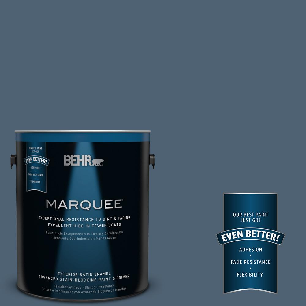 1 gal. #T17-17 Midnight Show Satin Enamel Exterior Paint