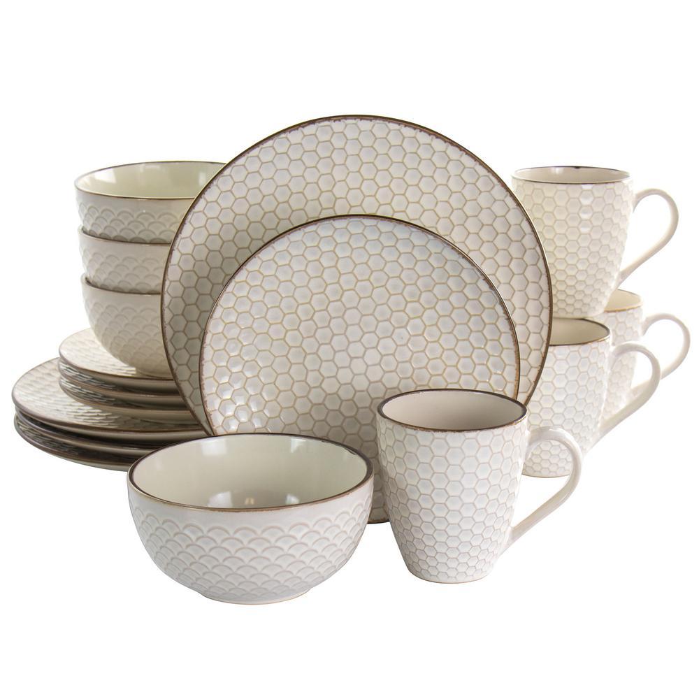 16-Piece Honey Ivory Stoneware Dinnerware Set (Service for 4)