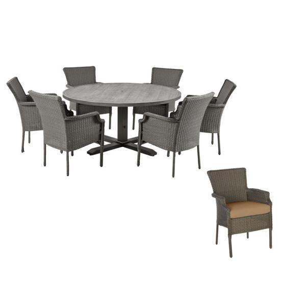 Grayson 7-Piece Ash Gray Wicker Outdoor Patio Dining Set with CushionGuard Toffee Tan Cushions