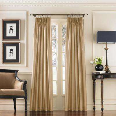 Marquee Sand Light Filtering Pinch Pleat/Back Tab Lined Curtain Panel - 30 in. W x 95 in. L