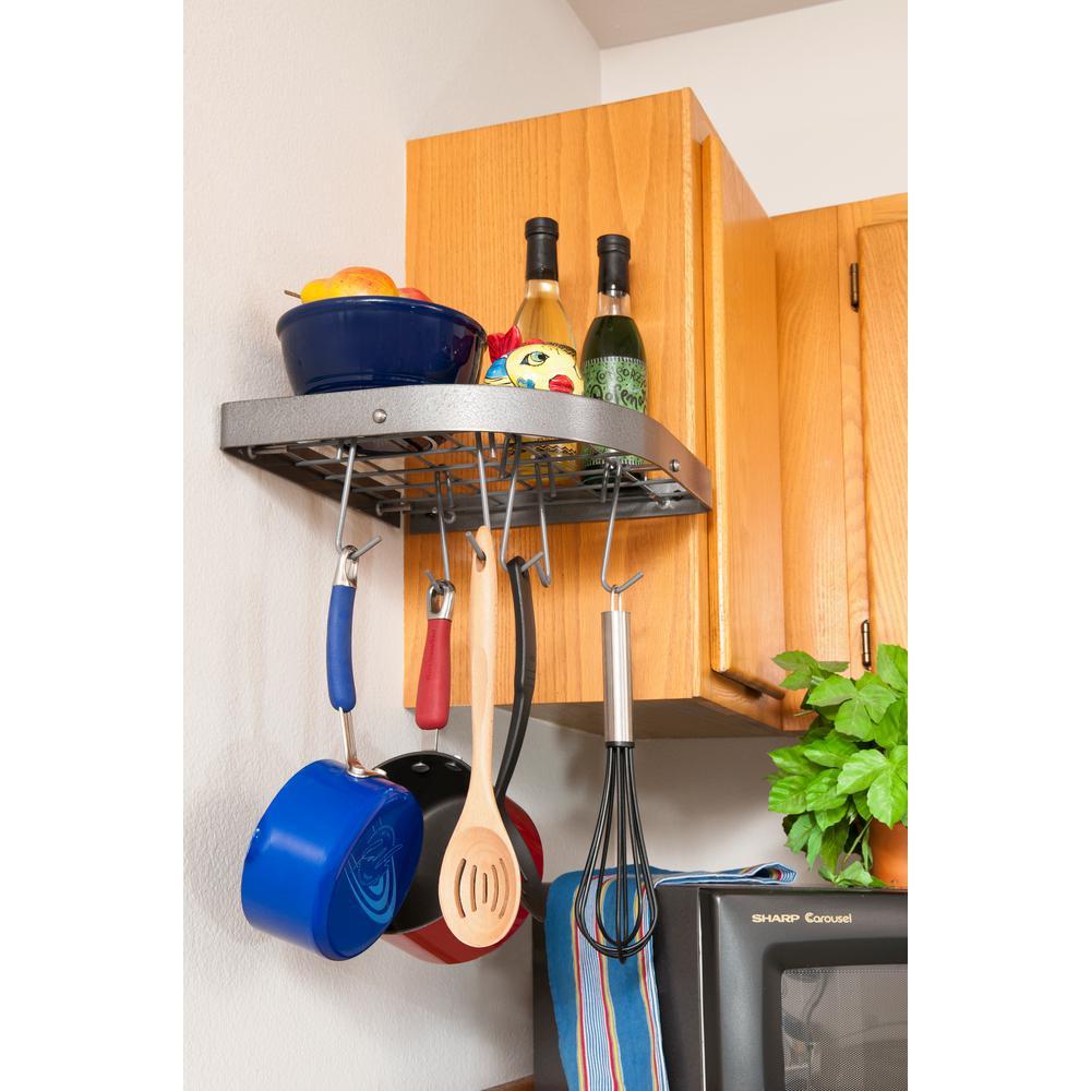 Corner Shelf Rack with 8 Hooks Steel Gray Hammertone