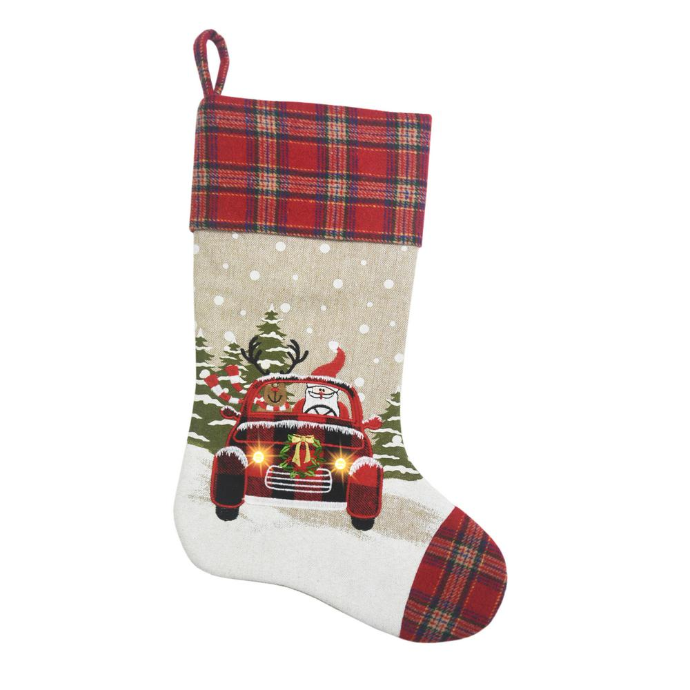 Manor Luxe 0 1 In H X 20 In L Polyester Snowy Car By Santa Light Up Christmas Stocking