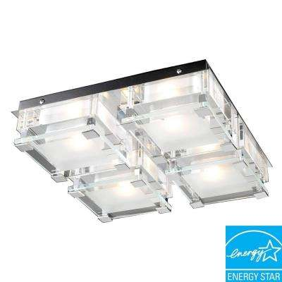 4-Light Ceiling Polished Chrome Flush Mount with Clear Glass