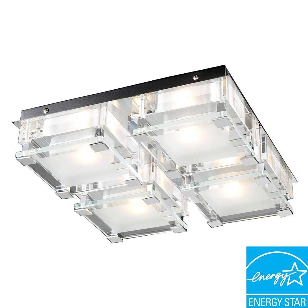 PLC Lighting 4 Light Ceiling Polished Chrome Flush Mount With Clear Glass