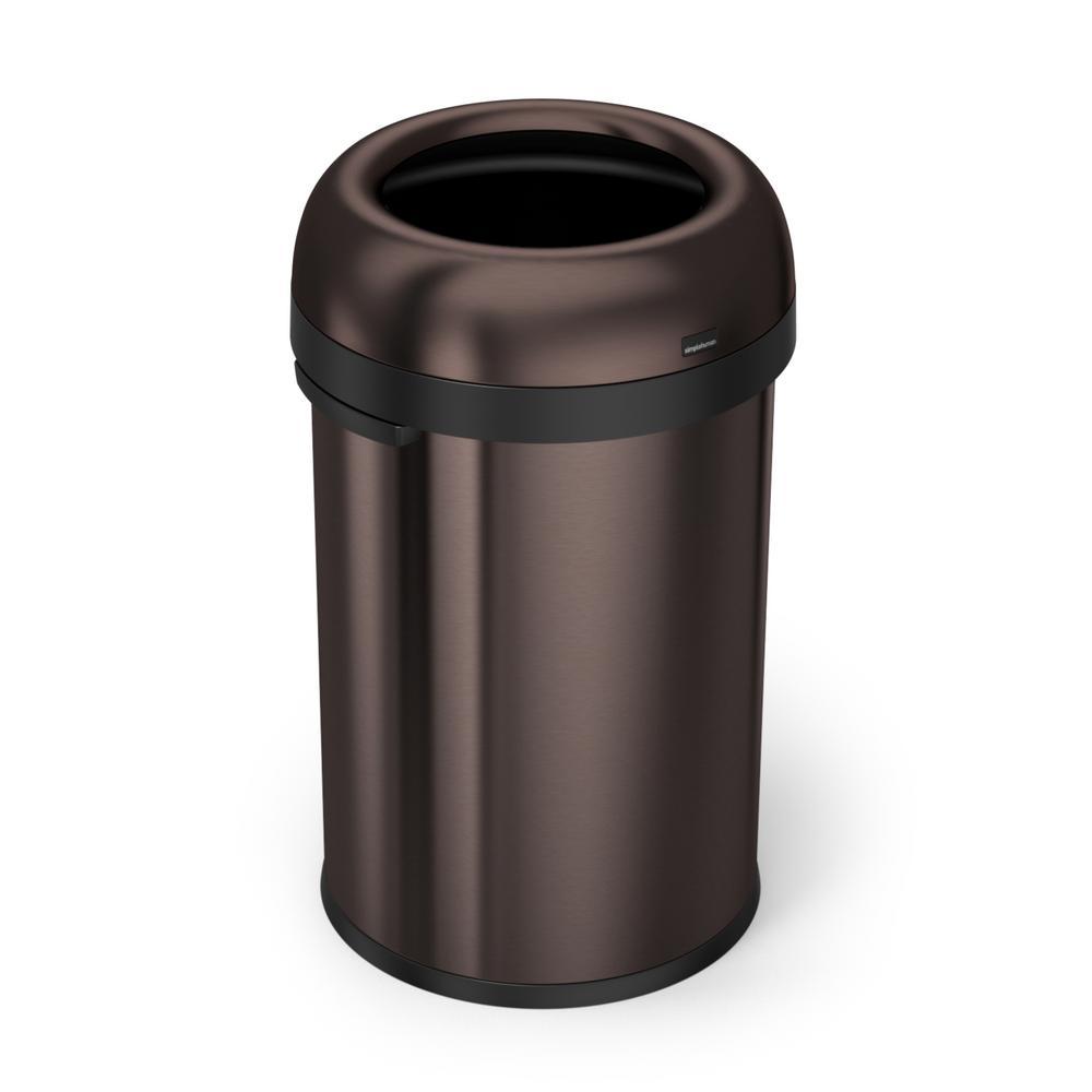 "115-Liter Dark Bronze Heavy-Gauge Stainless Steel ""Bullet"" Round Open Top Trash Can"