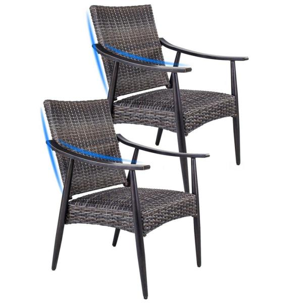 Brown Stationary Wicker Rattan Patio Garden Outdoor Dining Chairs (2-Pack)