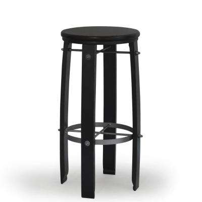 Woodford 30 in. Antique Black Barrel Stool