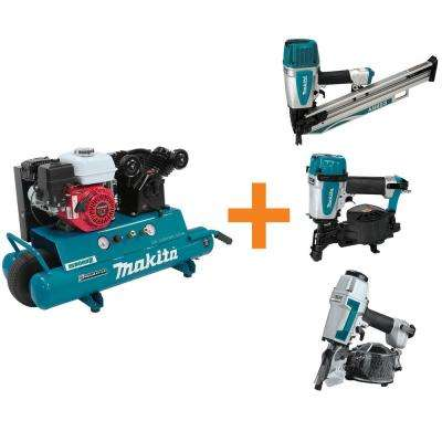 10 Gal. 5.5 HP Portable Gas-Powered Twin Stack Air Compressor and Nailers Bundle Pack