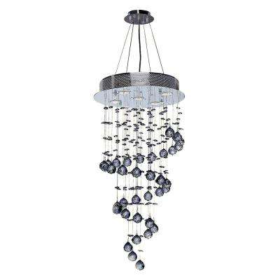 Helix 5-Light Polished Chrome and Clear Crystal Chandelier