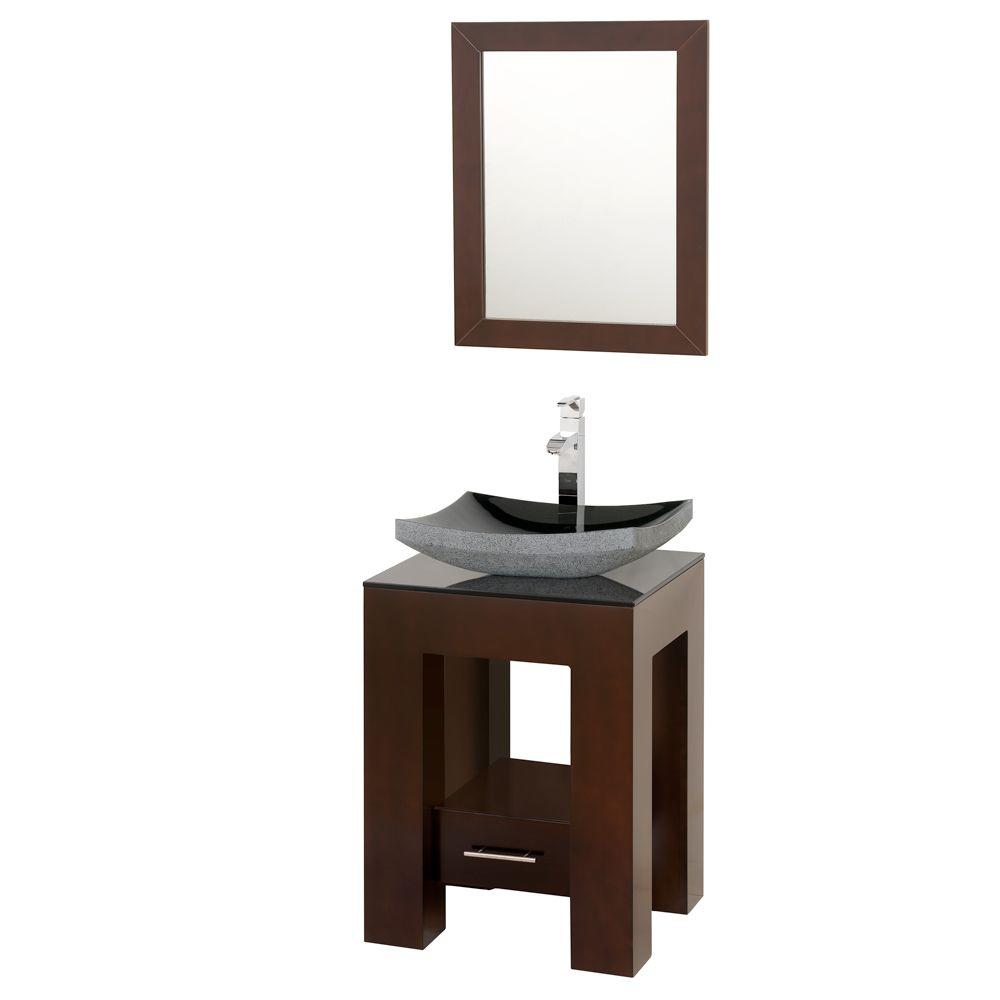 Wyndham Collection Amanda 22-1/4 in. Vanity in Espresso with Glass Vanity Top in Black and Mirror