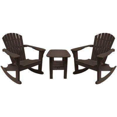 Mocha 3-Piece Poly-Lumber Rocking Patio Conversation Set