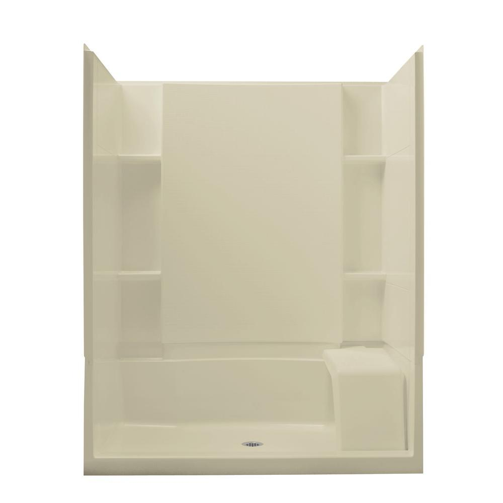 STERLING Accord Seated 36 in. x 60 in. x 74-1/2 in. Shower Kit with Age in Place Backers in Almond-DISCONTINUED