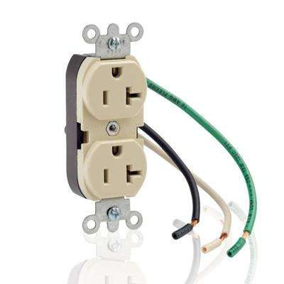 20 Amp Commercial Grade Duplex Outlet with Leads, Ivory