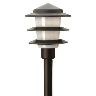 3-Tier Low-Voltage 1-Watt Black Outdoor Integrated LED Landscape Path Light