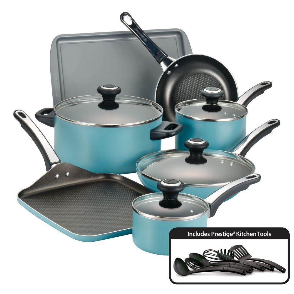Farberware High Performance 17Piece Aqua Cookware Set with Lids