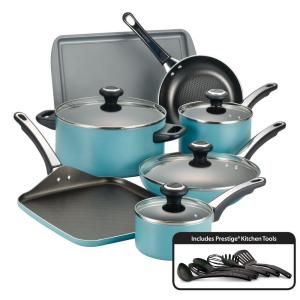 Farberware High Performance 17-Piece Aqua Cookware Set with Lids by Farberware