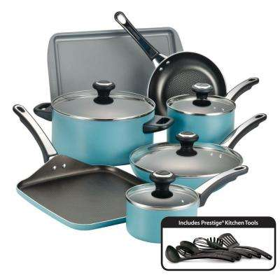 High Performance 17-Piece Aqua Cookware Set with Lids