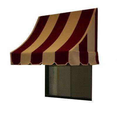 4 ft. Nantucket Window/Entry Awning (44 in. H x 36 in. D) in Burgundy/Tan Stripe