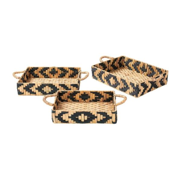 Home Decorators Collection Black and Natural Water Hyacinth Decorative Rectangle Tray (Set of 3)