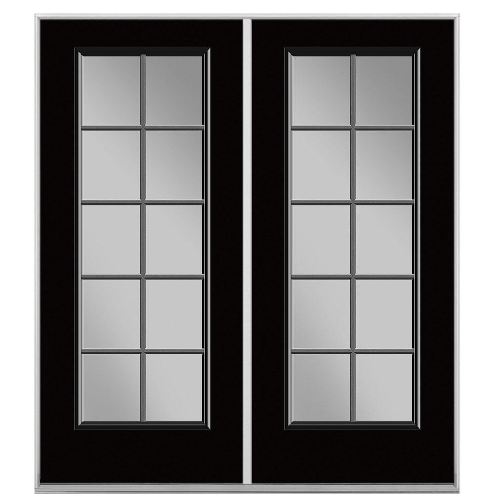 Masonite 60 in. x 80 in. Jet Black Steel Prehung Right-Hand Inswing 10-Lite Clear Glass Patio Door without Brickmold