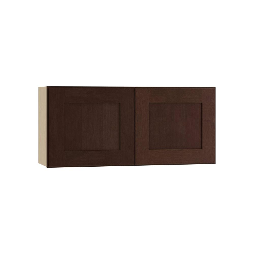 36x12x12 in. Franklin Assembled Wall Double Door Cabinet in Manganite Glaze