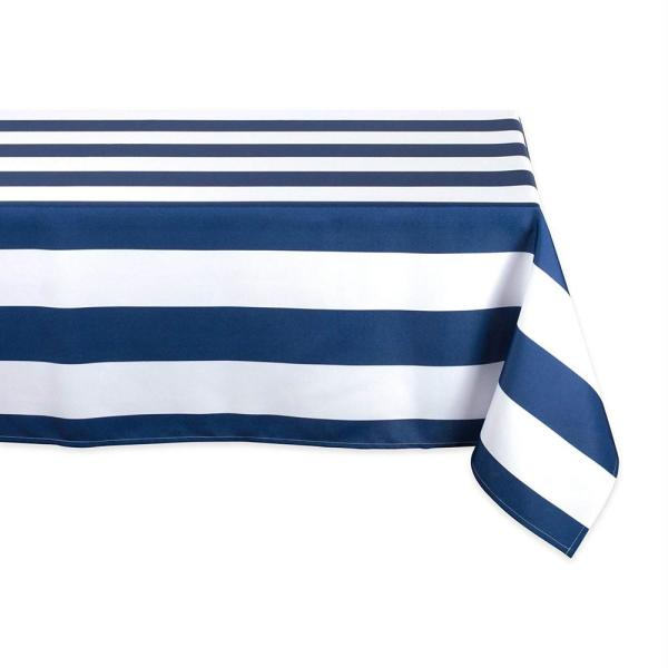 Outdoor 60 in. x 120 in. Nautical Blue Cabana Stripe Polyester Tablecloth