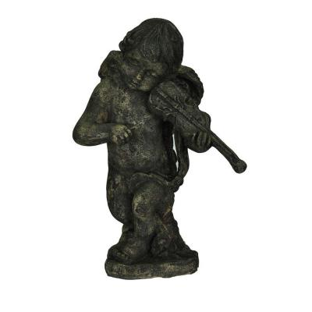 16-1/2 in. H Cast Stone Cherub with Violin in Special Aged Granite Finish