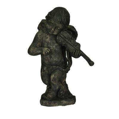 16-1/2 in. H Cast Stone Cherub with Violin in Special Aged Granite Finish