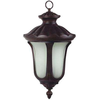 Tori 13.75 in. Fluorescent Hanging Exterior Light, Brown Frame with Frosted Glass