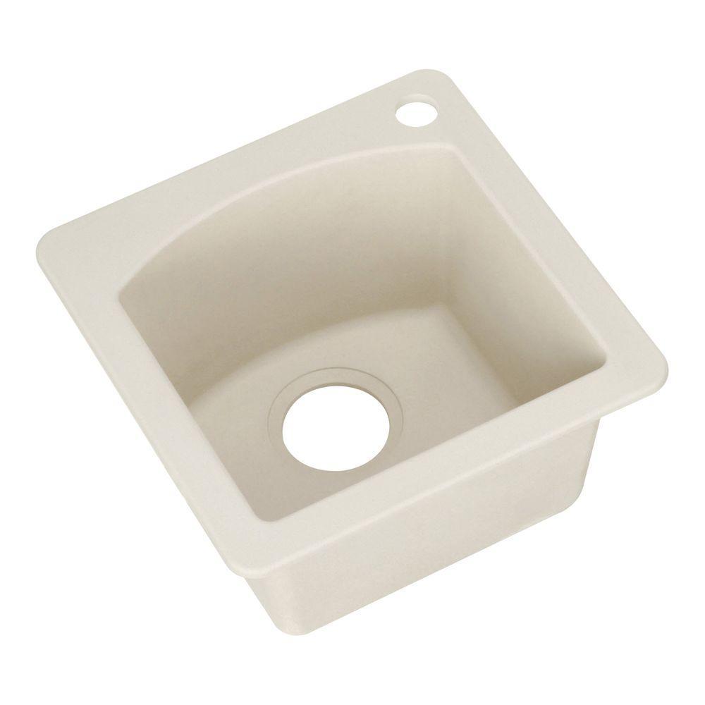 Diamond Dual Mount Granite 15 in. 1-Hole Single Bowl Bar Sink in Biscuit