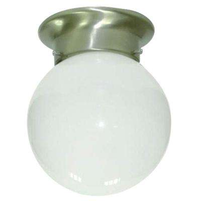 1-Light Satin Nickel Flushmount