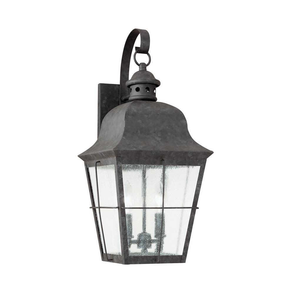 Sea Gull Lighting Chatham 2-Light Oxidized Bronze Outdoor 21 in. Wall Lantern Sconce with Dimmable Candelabra LED Bulb