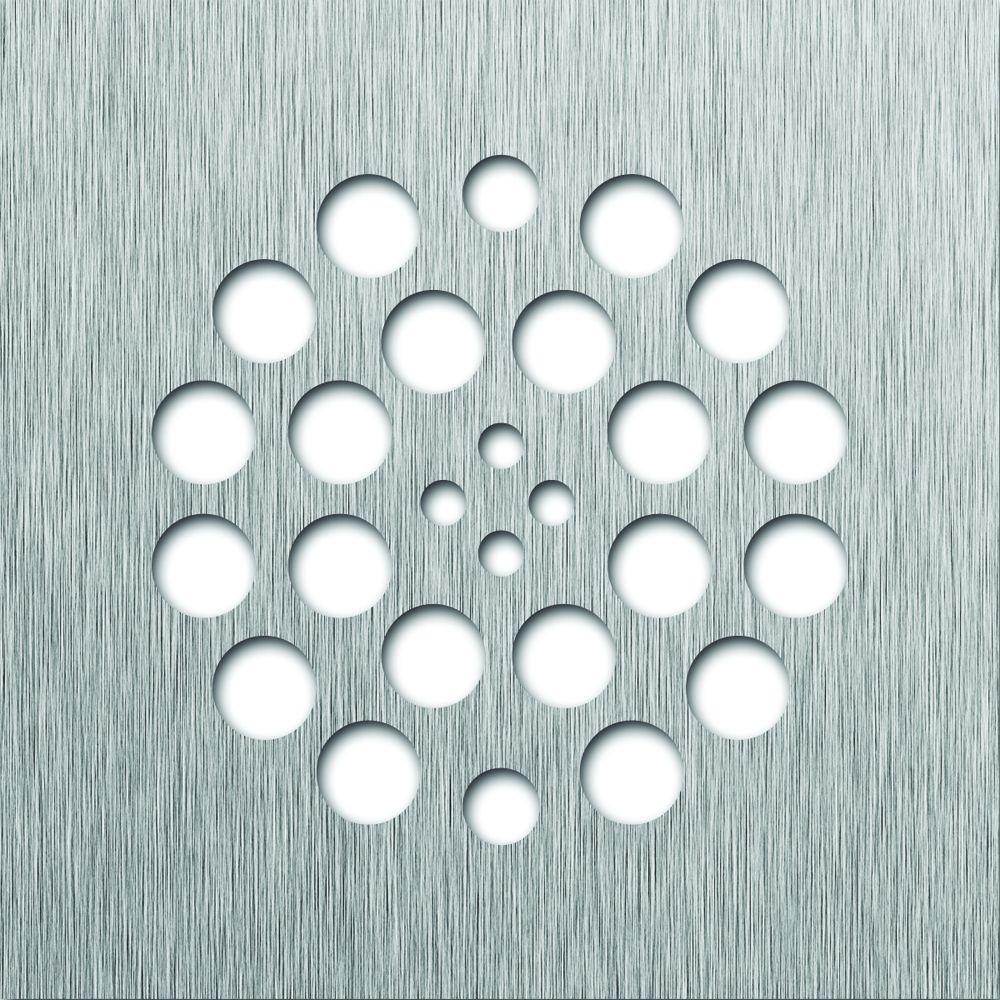 Redi Drain Tile Redi 4.25 in. x 4.25 in. Square Drain Plate in Brushed Nickel