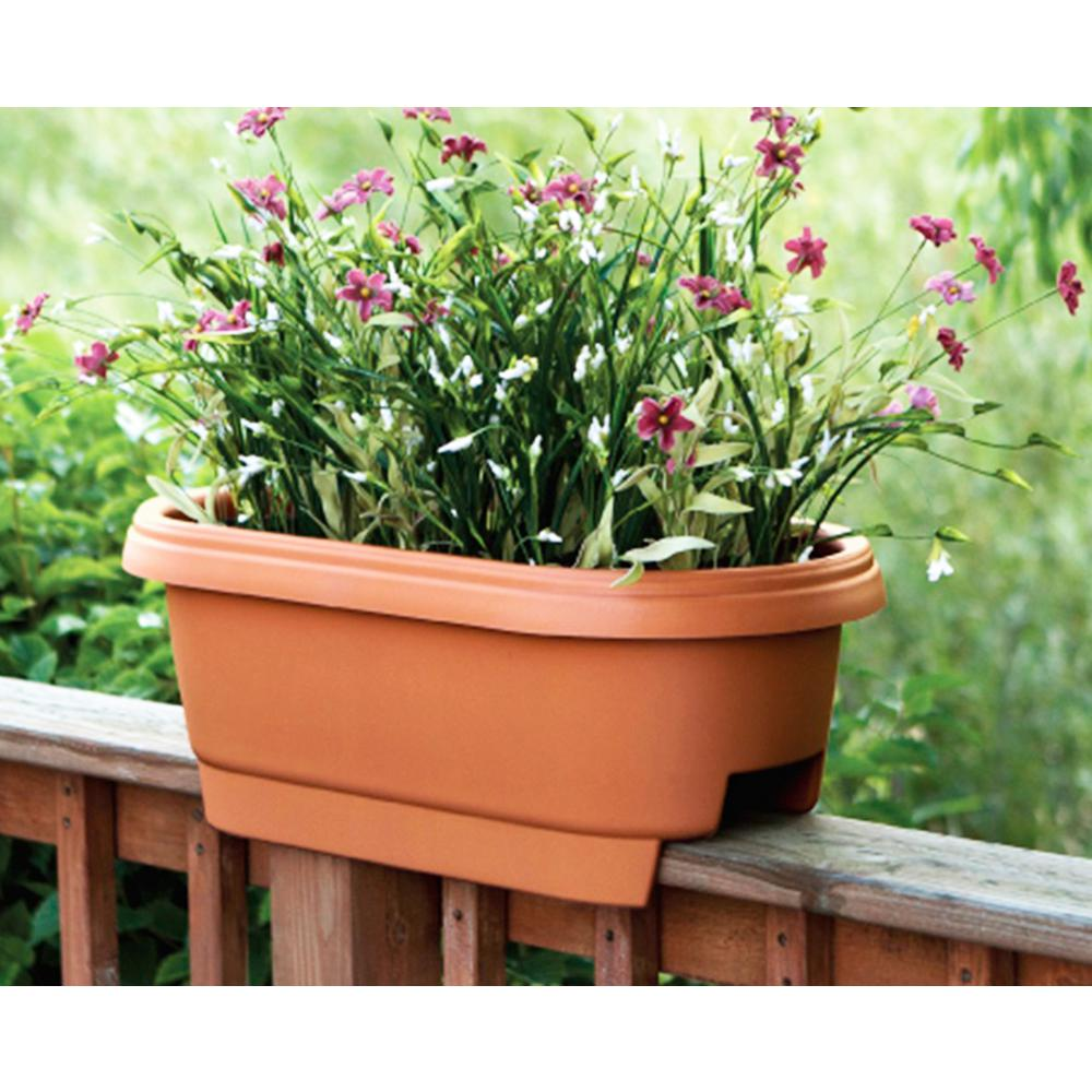 bloem deck rail planter 24 in terra cotta plastic deck rail planter rh homedepot com Railing Planter Boxes Home Depot Garden Bridges Home Depot