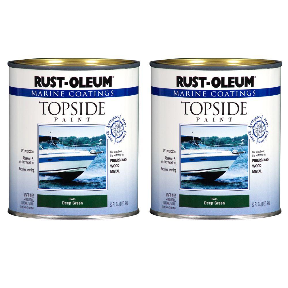Rust-Oleum Marine Coatings 1 qt. Gloss Deep Green Topside Paint (2-Pack)-DISCONTINUED