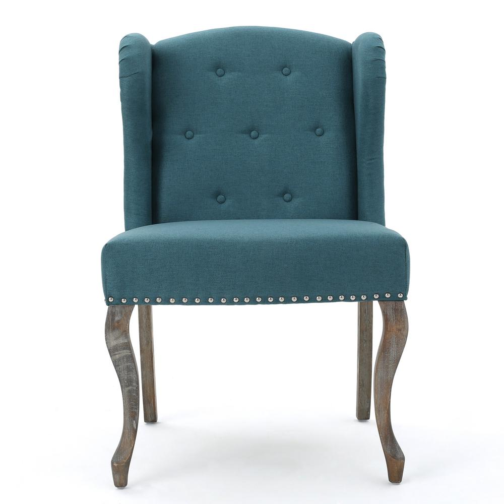 Noble house niclas button back dark teal fabric winged - Dark teal accent chair ...