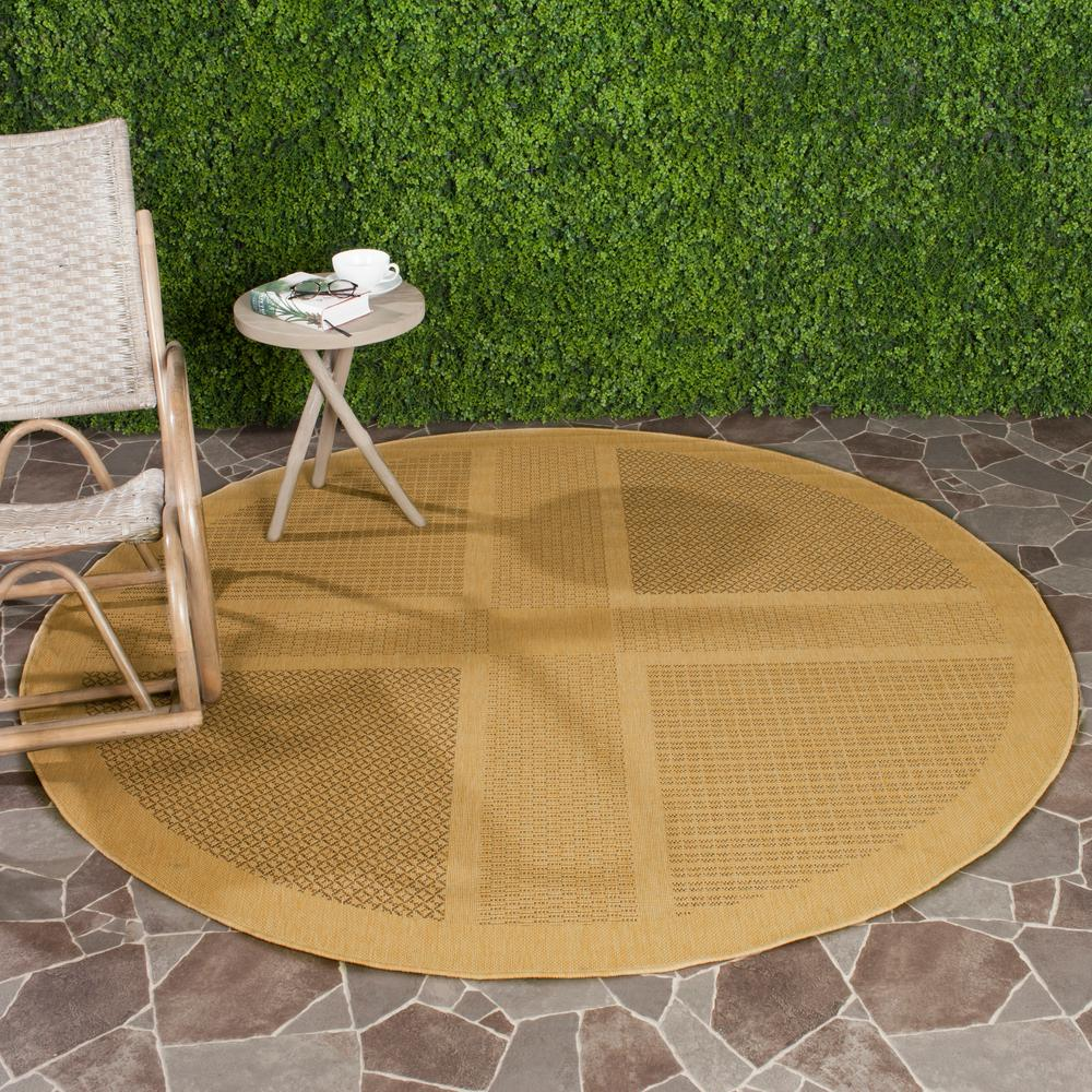 Safavieh Courtyard Natural/Brown 6 ft. 7 in. x 6 ft. 7 in. Indoor/Outdoor Round Area Rug