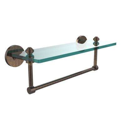 Southbeach 16 in. L  x 5 in. H  x 5 in. W Clear Glass Vanity Bathroom Shelf with  Towel Bar in Venetian Bronze