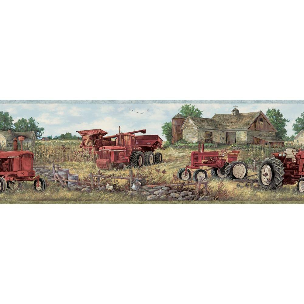 Chesapeake Oakley Countryside Wallpaper Border, Red