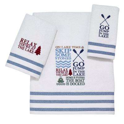 Lake Words 3-Piece Bath Towel Set in White Navy