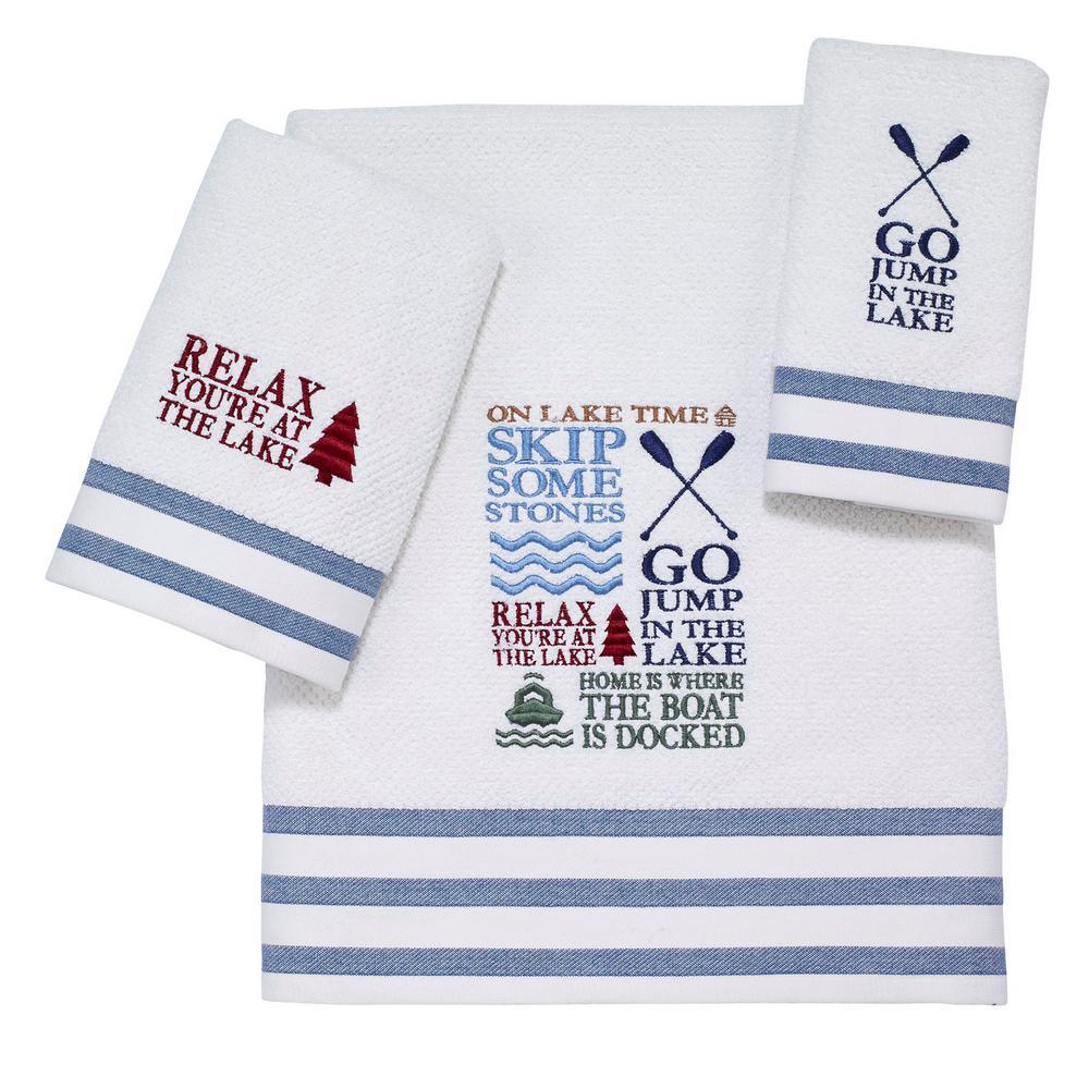 Lake Words 3-Piece Bath Towel Set in White Navy