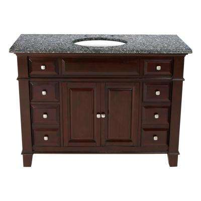 48 in. W x 23 in. D Solid Hardwood Single Vanity in Espresso with Solid Granite Top in Leopard